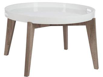 WHITE LABEL - table basse plateau amovible - flotty - l 71 x l 7 - Table Basse Ronde