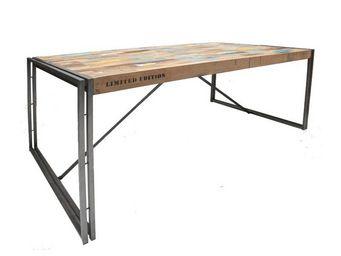 WHITE LABEL - table de repas en bois rectangle 175 cm - industry - Table De Repas Rectangulaire