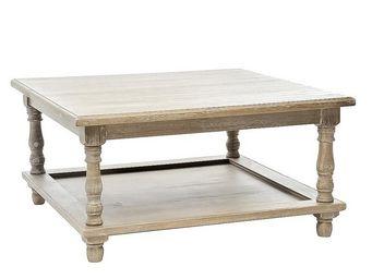 WHITE LABEL - table basse bois grisé - eve - l 80 x l 80 x h 40  - Table Basse Carrée