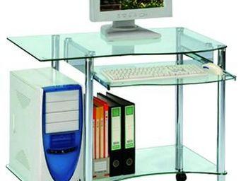 WHITE LABEL - bureau informatique en verre - pic - l 89 x l 54 x - Bureau