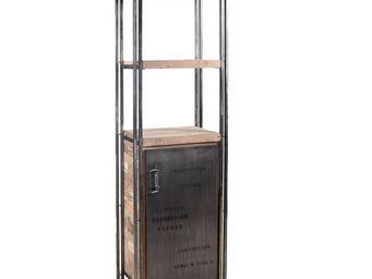 WHITE LABEL - bibliothèque en bois 1 porte - industry - l 60 x l - Etagère
