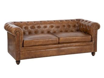 WHITE LABEL - canapé chesterfield cuir cognac - fieldman - l 185 - Canapé Chesterfield