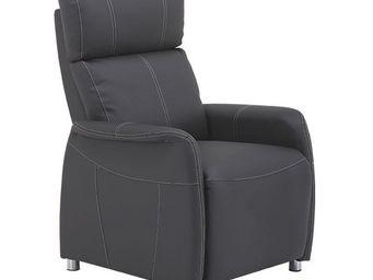 WHITE LABEL - fauteuil relax eco-cuir gris - lonis - l 78 x l 90 - Fauteuil