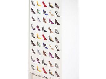 WHITE LABEL - meuble à chaussures à rideau blanc - shoes n°1 - l - Meuble À Chaussures
