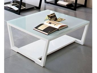 WHITE LABEL - calligaris table basse element en verre extra-blan - Table Basse Carrée