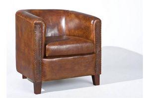 WHITE LABEL - fauteuil vintage cornwell en cuir marron - Fauteuil Club