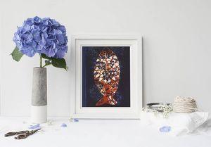 la Magie dans l'Image - print art poisson batik bleu - Poster