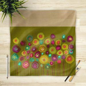 la Magie dans l'Image - foulard bouquet vert - Foulard Carré