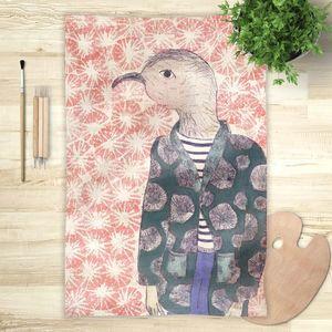 la Magie dans l'Image - foulard mon petit oiseau fond rose - Foulard Carré