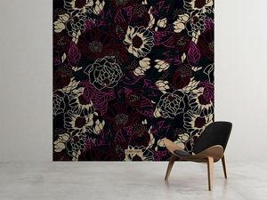 la Magie dans l'Image - grande fresque murale pivoine black red - Papier Peint Panoramique