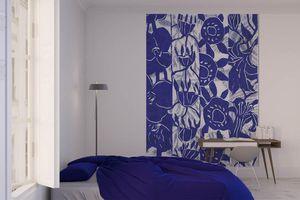 la Magie dans l'Image - grande fresque murale végétal bleu blanc - Papier Peint Panoramique