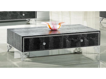 WHITE LABEL - table basse jasmine - noir - Table Basse Rectangulaire