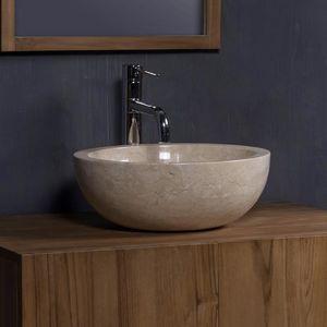BOIS DESSUS BOIS DESSOUS - vasque en marbre beige - Miroir De Salle De Bains