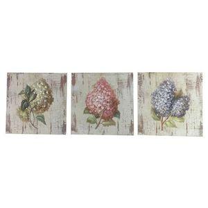 CHEMIN DE CAMPAGNE - 3 tableaux cadres en bois peint fleur lilas 20,5x2 - Tableau Décoratif