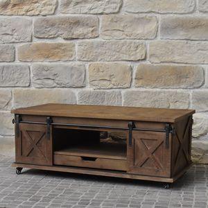 CHEMIN DE CAMPAGNE - meuble table basse industriel campagne en bois et  - Table Basse Rectangulaire