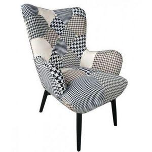 Mathi Design - fauteuil patchwork java bn - Fauteuil