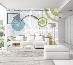 IN CREATION - géométrie couleurs sur briques - Papier Peint