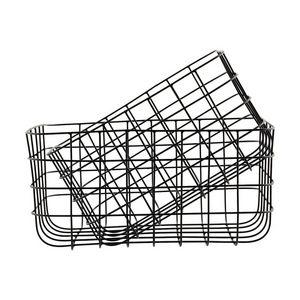 BOIS DESSUS BOIS DESSOUS - set de panier en métal noir effet grillage - Panier De Rangement