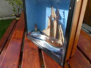 La Timonerie Antiquités marine - maquette diorama d'un schooner - Diorama