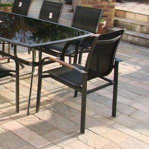 LE R�VE CHEZ VOUS - ensemble table aluminium noir plateau verre opaque - Salon De Jardin