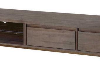 ZAGO - long meuble tv en teck teinte - Meuble Tv Hi Fi