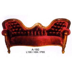 DECO PRIVE - canape baroque en velours rouge et bois d acajou d - Canapé 2 Places