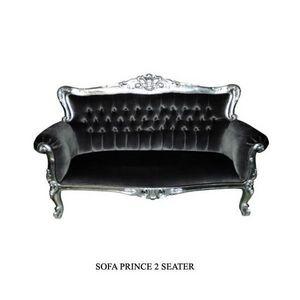 DECO PRIVE - canape modele prince velours noir et argente - Canapé 2 Places