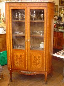 Courcelles Antiquités - petite vitrine bibliotheque - Armoire Vitrine