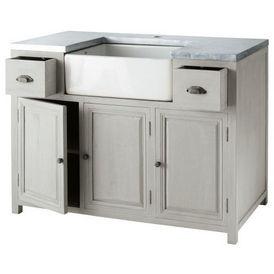 Meuble vier 120 zinc meuble de cuisine maisons du monde - Meuble maisons du monde ...