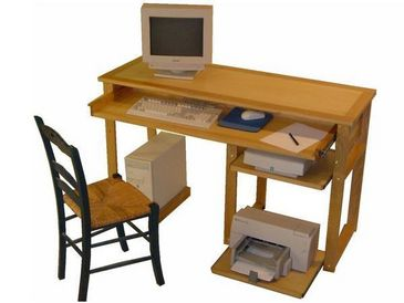 Console informatique meuble ordinateur naturel ch ne for Meuble console ordinateur