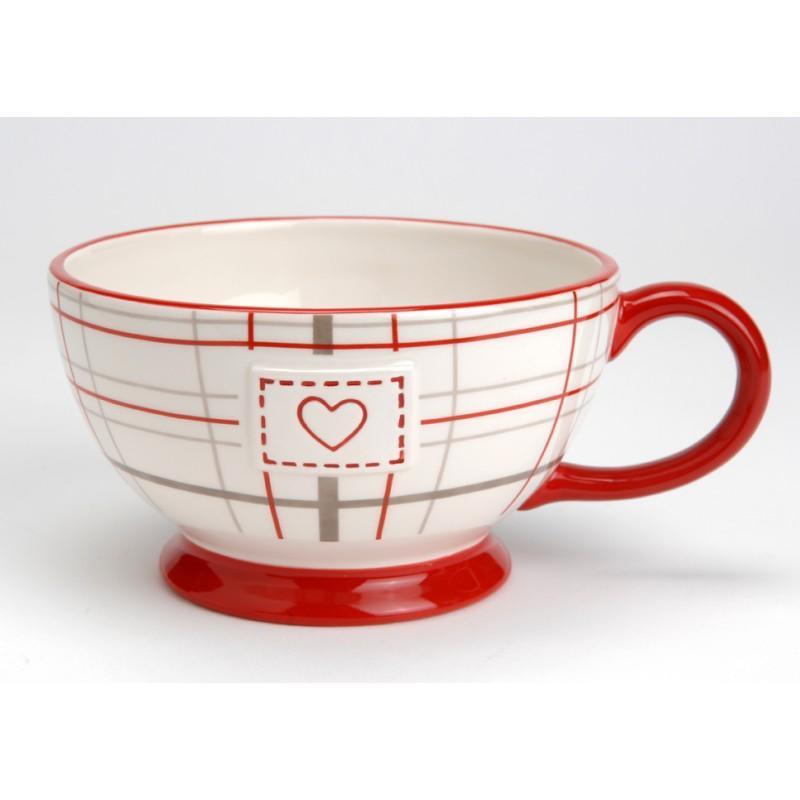 bol cossais avec anse bol rouge ecossais c ramique 15 cm. Black Bedroom Furniture Sets. Home Design Ideas