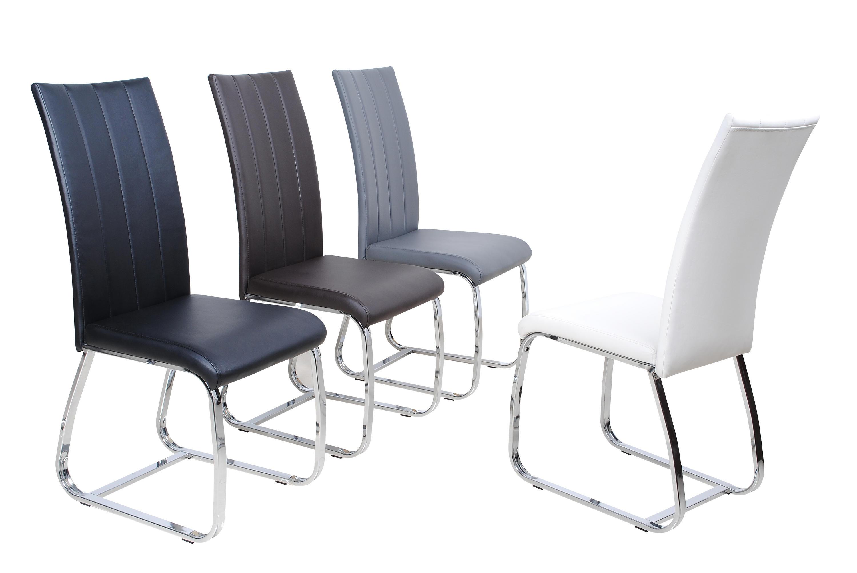 Chaise de table simili cuir noir chaise noir comforium - Chaise cuir noir salle manger ...