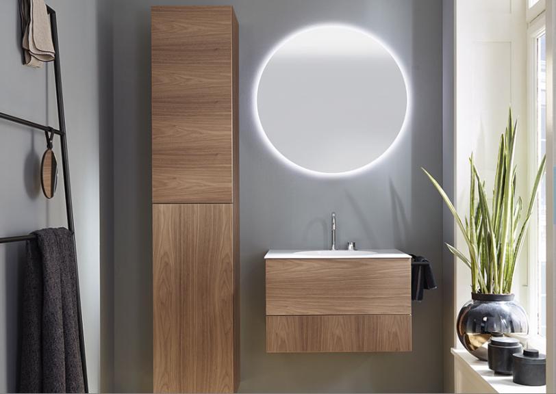 coco meuble de salle de bains noyer fonc uni laque. Black Bedroom Furniture Sets. Home Design Ideas