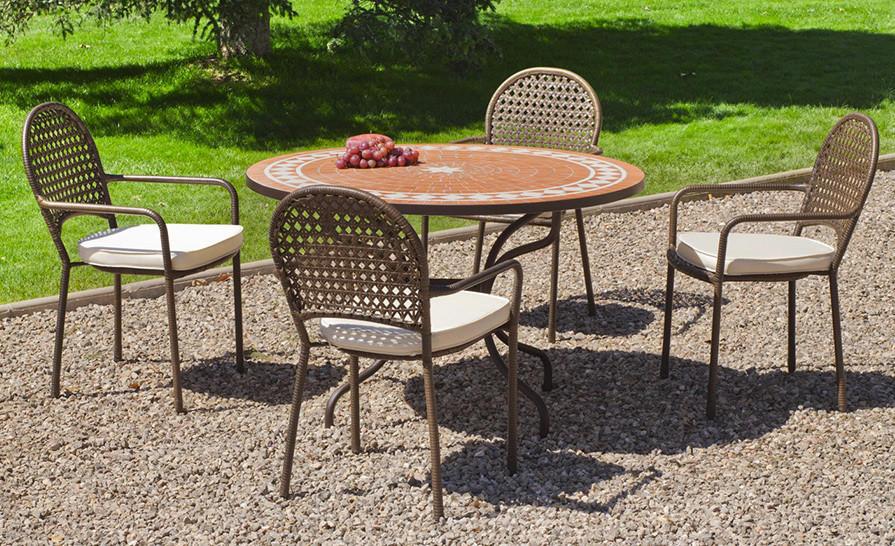Salon De Jardin Table Ronde Et Fauteuils 4 Places Salle à Manger