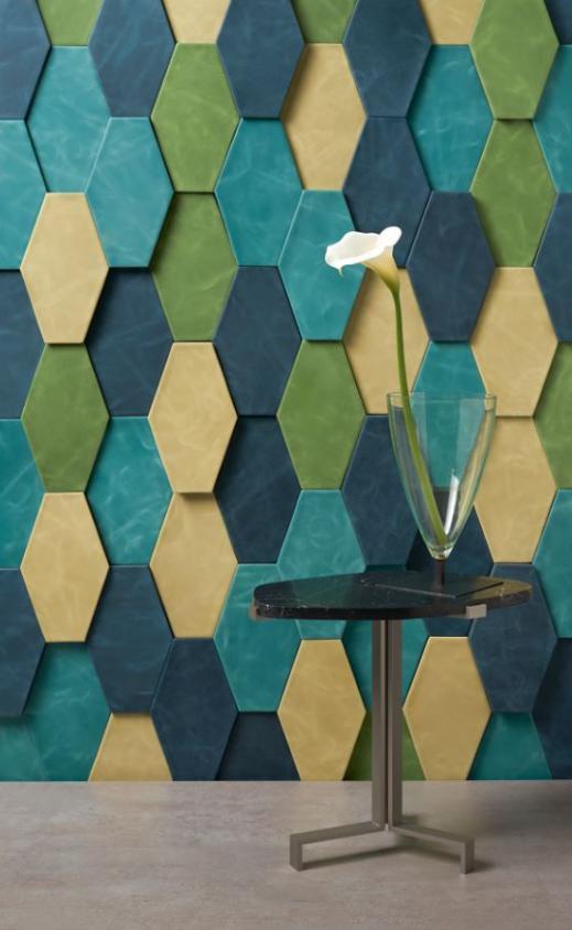 relief dalle de cuir bleu cuir au carr decofinder. Black Bedroom Furniture Sets. Home Design Ideas