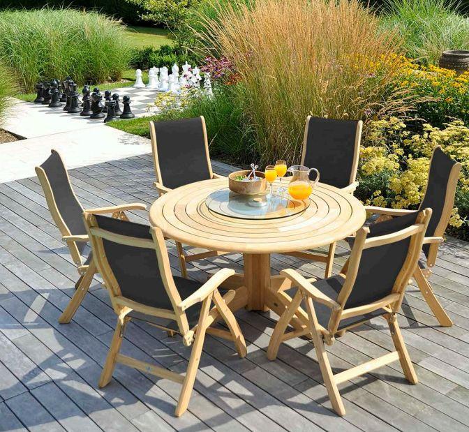lattes circulaires - Table de jardin ronde - Naturel - Bois - ...