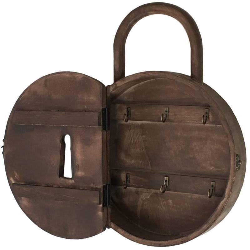 bo te cl clef murale cadenas en bois armoire clefs bois chemin de campagne. Black Bedroom Furniture Sets. Home Design Ideas