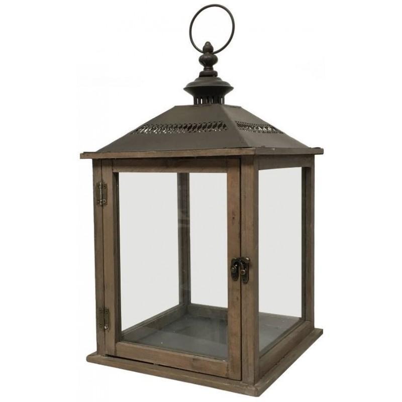 style ancienne lanterne bougie bois et fer 52 cm. Black Bedroom Furniture Sets. Home Design Ideas