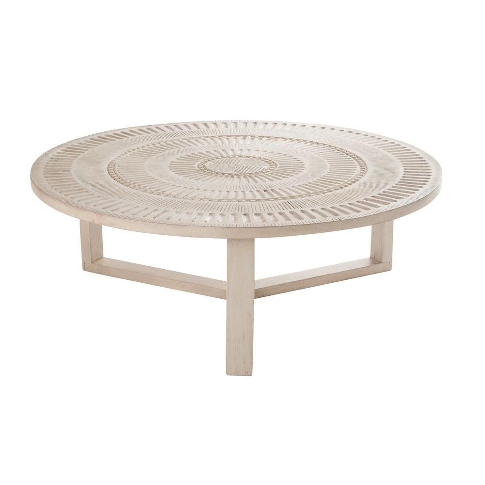 table basse ronde en manguier sculpt abenakitable basse. Black Bedroom Furniture Sets. Home Design Ideas