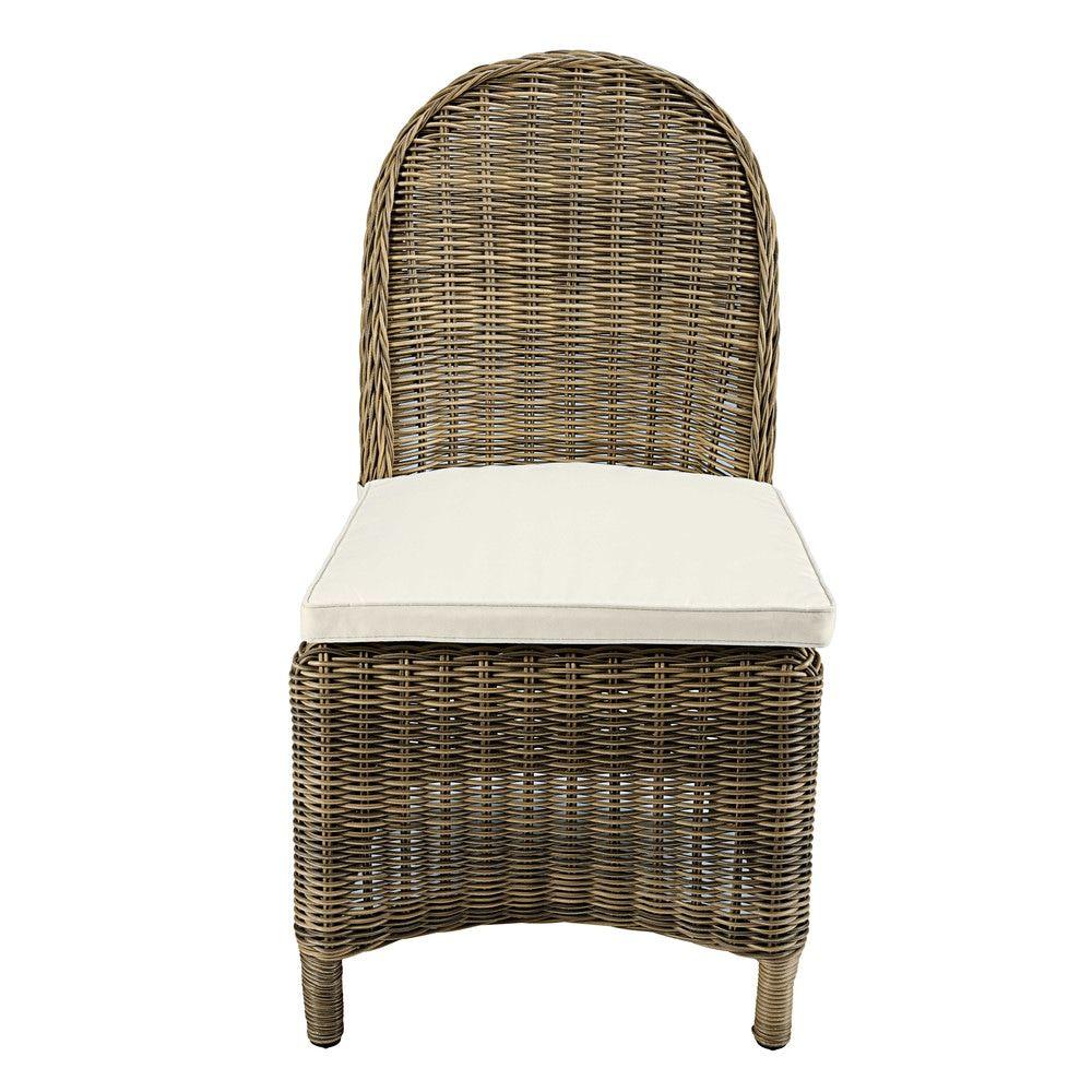 chaise de jardin en r sine tress e et coussin cru st. Black Bedroom Furniture Sets. Home Design Ideas