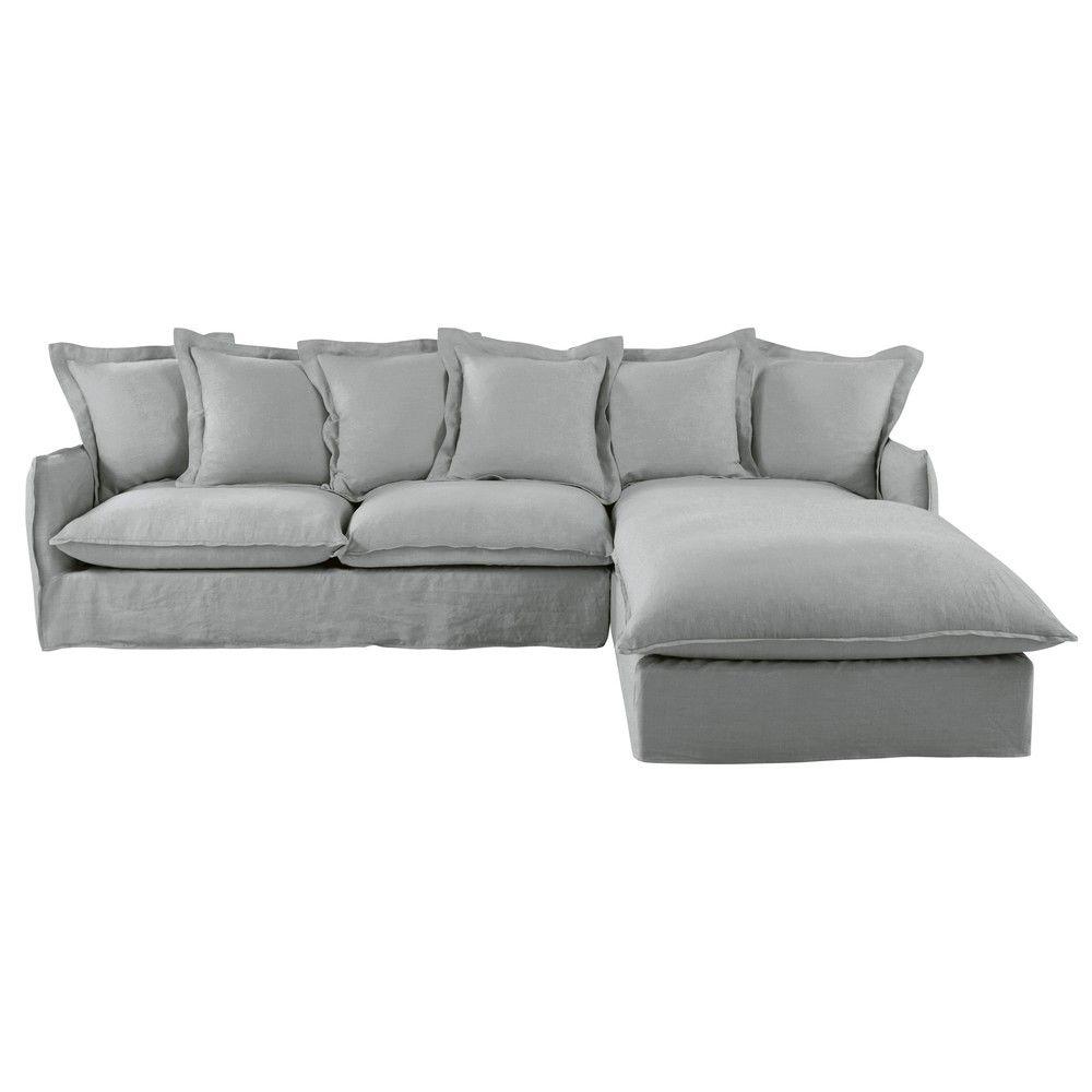 canap d 39 angle droit 6 places en lin lav gris clair. Black Bedroom Furniture Sets. Home Design Ideas