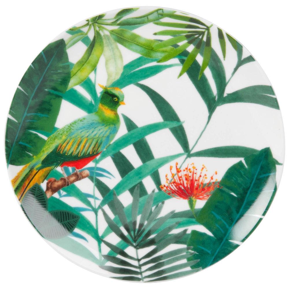 Assiette à dessert en porcelaine imprimé tropicalAssiette plate - Vert - 21x0x0cm - MAISONS DU MONDE