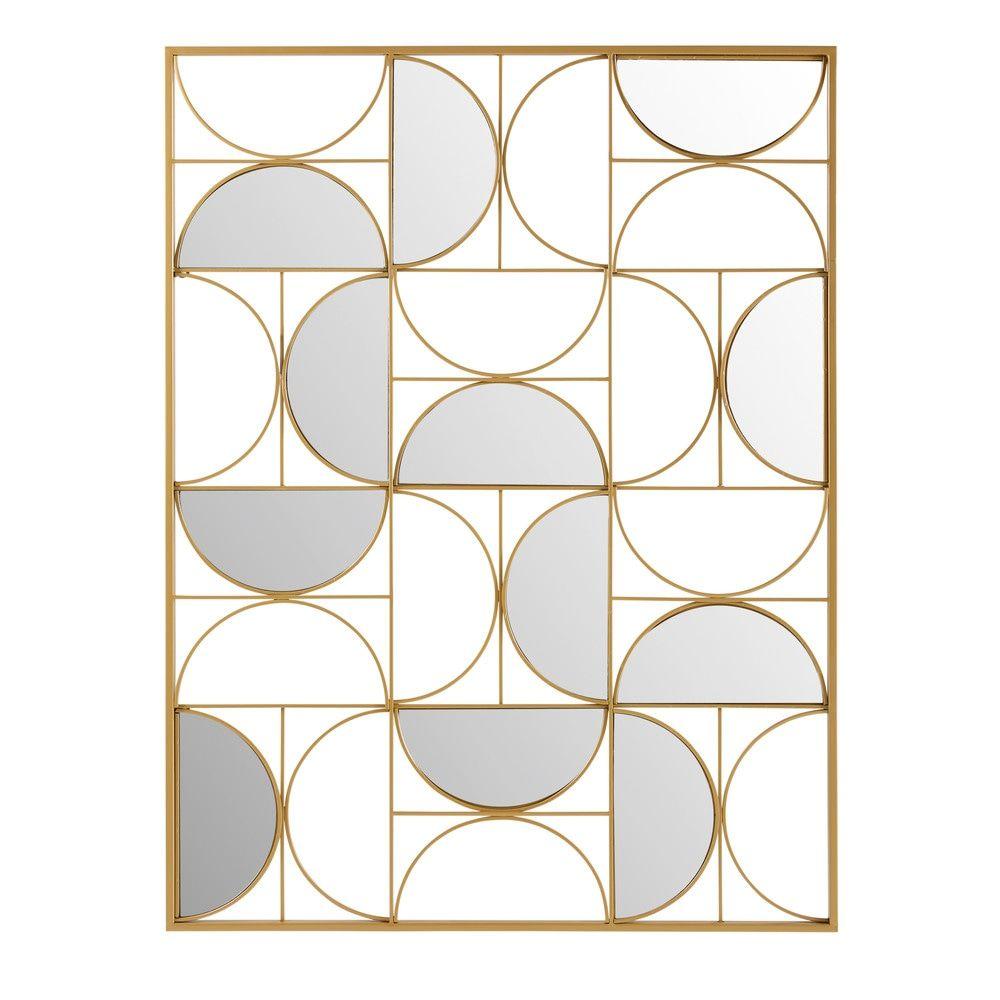 d co murale miroir en m tal dor 90x120d coration murale. Black Bedroom Furniture Sets. Home Design Ideas