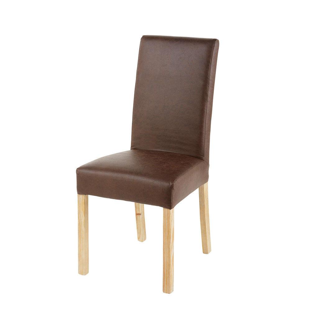 housse de chaise en microsu de marron 41x70housse de. Black Bedroom Furniture Sets. Home Design Ideas