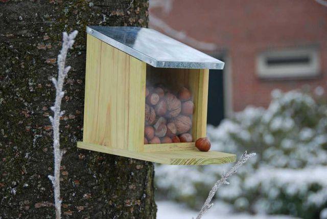 BEST FOR BIRDS - Mangeoire à écureuil-BEST FOR BIRDS-Mangeoire en Bois et Zinc pour Ecureuils