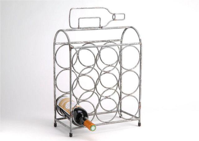 Amadeus - Range-bouteilles-Amadeus-Porte-bouteilles déco en métal vieilli 33,5x17x49c