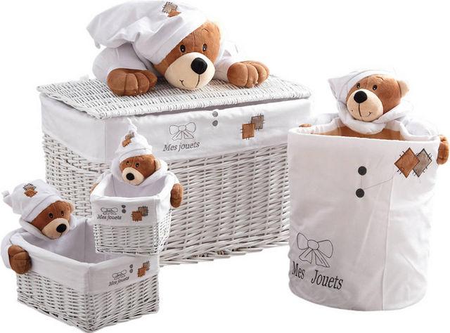 Aubry-Gaspard - Coffre à jouets-Aubry-Gaspard-Coffre à jouets et 3 corbeilles mes jouets ourson