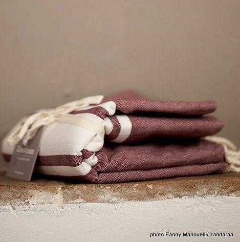 Zandaraa - Fouta serviette de hammam-Zandaraa-fouta plate aubergine