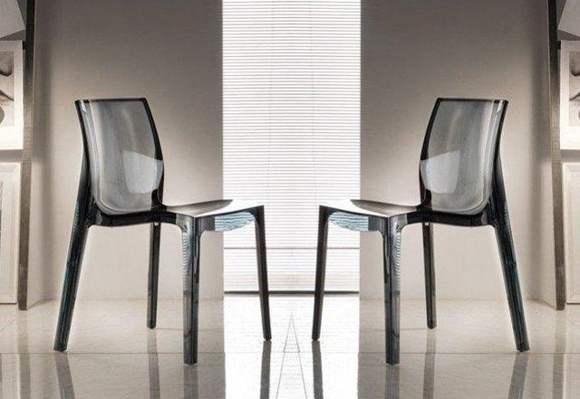 WHITE LABEL - Chaise-WHITE LABEL-Lot de 2 chaises FALENA empilables en plexiglas fu