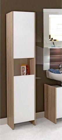 WHITE LABEL - Colonne de rangement simple de salle de bains-WHITE LABEL-Colonne DOVA design chêne et 2 portes blanche